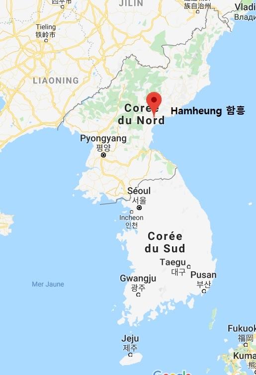 Localisation de Pyeongyang et de Hamheung