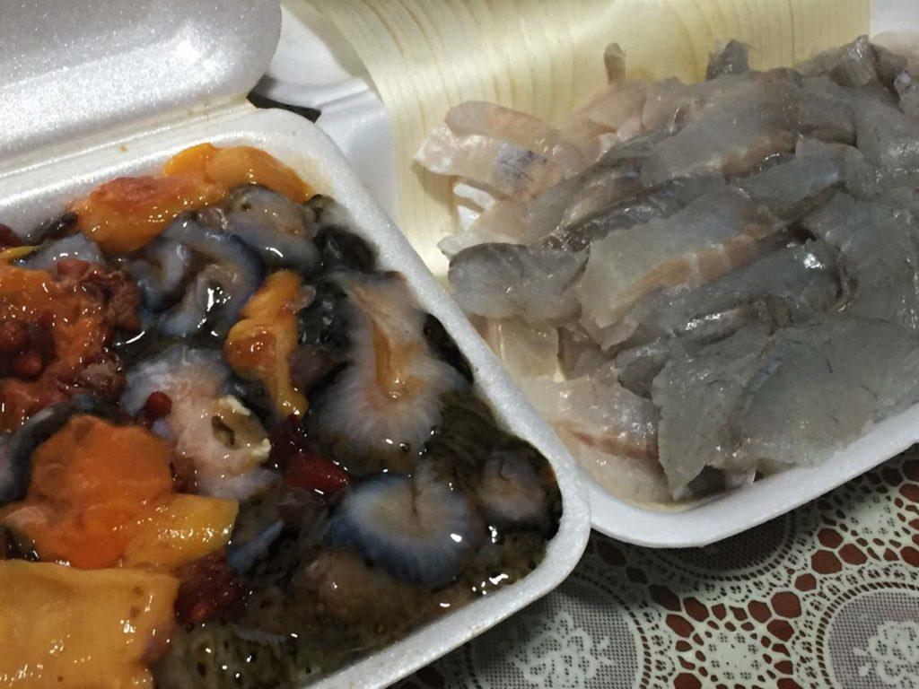 aliment coréen excentrique - oursins, concombres de mer, bar du japon