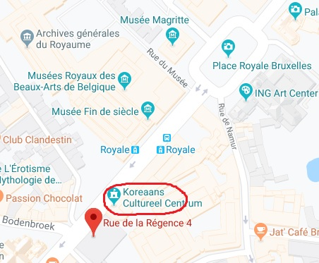 la carte pour aller au Centre Culturel Coréen de Belgique